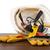 plastik · kask · eldiven · araçları · tablo · yalıtılmış - stok fotoğraf © cherezoff