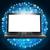 черный · ноутбука · экране · значки · компьютеров · синий · фон - Сток-фото © cherezoff