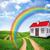 regenboog · veld · mooie · granen · afstand - stockfoto © cherezoff