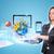 mulher · olhando · traçar · usando · laptop · escritório · papel - foto stock © cherezoff