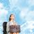 vrouw · vergadering · stoel · aktetas · kleur · jonge - stockfoto © cherezoff