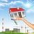 hand · huis · groen · gras · boom · zonnepanelen - stockfoto © cherezoff