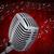 3D · retro · micrófono · rojo · cortina - foto stock © cherezoff