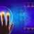 hand · aanraken · holografische · scherm · wereldkaart - stockfoto © cherezoff