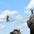 businessman walking on rope above gap stock photo © cherezoff
