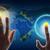 рук · прикасаться · голографический · экране · Мир · карта - Сток-фото © cherezoff