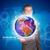 üzletember · világtérkép · földgömb · férfi · technológia · biztonság - stock fotó © cherezoff