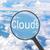 увеличительное · стекло · глядя · чирикать · облака · бизнеса · свет - Сток-фото © cherezoff