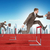 men hopping over treadmill barrier with city stock photo © cherezoff