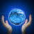 hands hold glowing earth hi tech background stock photo © cherezoff