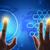 mãos · tocante · azul · tela · mapa · do · mundo - foto stock © cherezoff