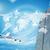超高層ビル · 世界地図 · ジェット · 青空 · 市 · 世界 - ストックフォト © cherezoff