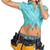 woman in hard hat and tool belt calling on mobile phone stock photo © cherezoff