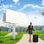 üres · bőrönd · égbolt · repülés · felhős · háttér - stock fotó © cherezoff