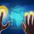 mãos · tocante · tela · mapa · do · mundo - foto stock © cherezoff