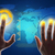 buisnessman hands touching blue holographic screen stock photo © cherezoff