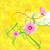 yellow background with pink flowers and butterfly banner stock photo © cherju