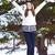 vrouw · lopen · winter · park · brunette · handen - stockfoto © chesterf