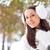 vrouw · lopen · winter · park · brunette · glimlachende · vrouw - stockfoto © chesterf