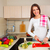 nő · készít · saláta · konyha · mosolyog · nevet - stock fotó © chesterf