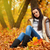 Brünette · Frau · Sitzung · Boden · schönen - stock foto © chesterf