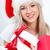 jonge · vrouw · hoed · geschenkdoos · witte - stockfoto © chesterf