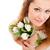 vista · sonriendo · nina · tulipanes · ramo - foto stock © chesterf