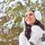 vrouw · lopen · winter · park · brunette · sneeuwval - stockfoto © chesterf