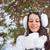 mooie · vrouw · lopen · buitenshuis · sneeuwval · mooie · blonde · vrouw - stockfoto © chesterf