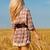 nő · sétál · búzamező · gyönyörű · szőke · nő · nők - stock fotó © chesterf