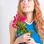 bela · mulher · vermelho · flores · vermelhas · rosas · estúdio - foto stock © chesterf