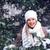gelukkig · vrouw · sneeuwval · blonde · vrouw · lopen · handen - stockfoto © chesterf