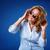 женщину · наушники · Солнцезащитные · очки · улыбка · вечеринка - Сток-фото © chesterf