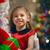 kerstman · aanwezig · weinig · cute · meisje · huis - stockfoto © choreograph