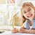 gelukkig · meisje · gekleurd · potloden · geïsoleerd · terug · naar · school - stockfoto © choreograph