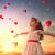 少女 · 見える · 赤 · 風船 · 甘い · 子 - ストックフォト © choreograph