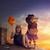 zucche · tramonto · cielo · felice · halloween · tavolo · in · legno - foto d'archivio © choreograph