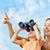bambina · guardando · giro · turistico · binocolo · cielo · bambino - foto d'archivio © choreograph