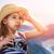 weinig · reiziger · meisje · hemel · gelukkig · zon - stockfoto © choreograph