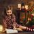lány · ír · levél · mikulás · vidám · karácsony - stock fotó © choreograph