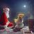 девушки · Дед · Мороз · сидят · крыши · веселый · Рождества - Сток-фото © choreograph