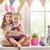 gyerekek · visel · nyuszi · fülek · kettő · aranyos - stock fotó © choreograph