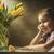 criança · criança · menina · primavera · flores · amarelas · campo - foto stock © choreograph