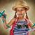 weinig · reiziger · meisje · kaart · kind · reizen - stockfoto © choreograph