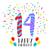 joyeux · anniversaire · 14 · année · carte · de · vœux · affiche · couleur - photo stock © cienpies