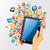 menselijke · hand · touch · computer · elektronische · tablet · geïsoleerd - stockfoto © cienpies