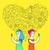 счастливым · пару · линия · икона · вектора · изолированный - Сток-фото © cienpies