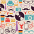 colorful vintage hipsters icons stock photo © cienpies