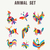colorful set of wild animal icon illustrations stock photo © cienpies