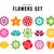 vektör · ayarlamak · basit · dekoratif · çiçekler · kırmızı - stok fotoğraf © cienpies